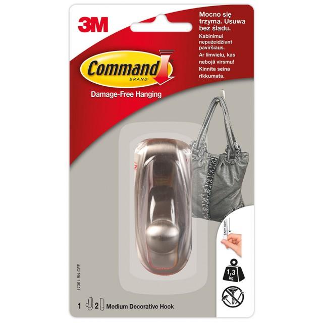 Никелированный металлический крючок Command средний (17061-BN)