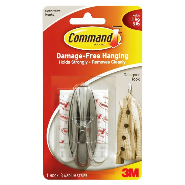 Хромированный дизайн крючок Command средний (17081CHR)