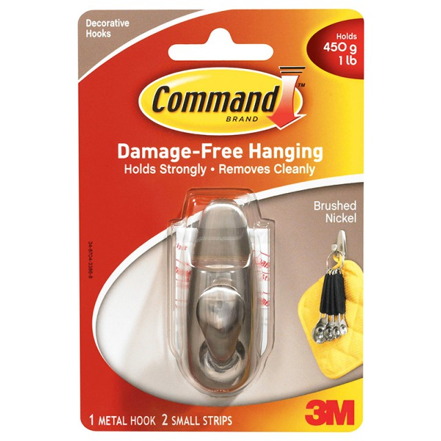 Крючок металлический Command малый (FC11-BN)