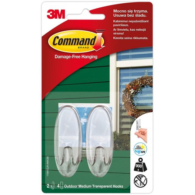 Дизайн крючок Command уличный средний Прозрачный (17091CLR-AW)