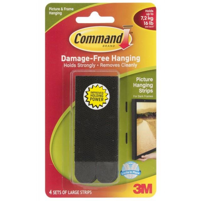 Застежки для рамок и картин Command большие черные (17206ВLК)