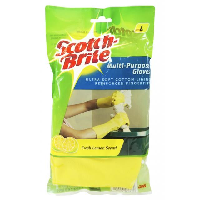 Перчатки универсальные Scotch-Brite с запахом лимона желтые