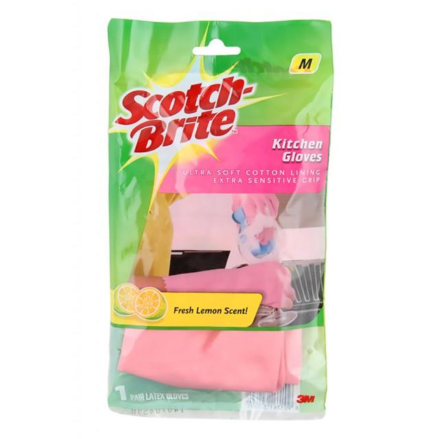 Перчатки для кухни Scotch-Brite с запахом лимона розовые