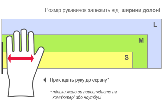 Таблица размеров перчаток Scotch-Brite